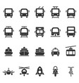public transport shape style icon set vector image