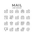 set line icons of mail vector image vector image