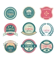 set vintage summer camp badges and outdoors vector image