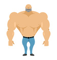 Strong man bare-chested in blue jeans Athletic vector image