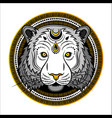 stylized tiger face hand drawn doodle vector image