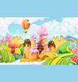 sweet candy land 3d cartoon background plasticine vector image vector image