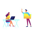 teacher standing and pointing and student sitting vector image