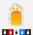 tombstone paper sticker with hand drawn elements vector image vector image