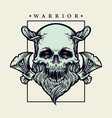 viking skull warrior with axe vector image