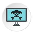 Virus on computer icon flat style vector image vector image