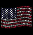 waving usa flag stylized composition of triangle vector image vector image