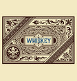whiskey card with old frame vector image vector image