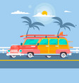 woodie surf wagon vector image vector image