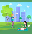 young people spend time in city park socializing vector image vector image
