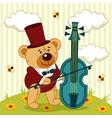 teddy bear playing on cello vector image