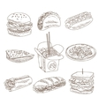 Fast Food Doodle Collection vector image