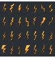 Thunder lightning bolt pictogram icons set design vector image