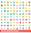100 accounting icons set cartoon style vector image vector image