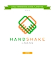 Abstract outline handshake logo flat style vector image