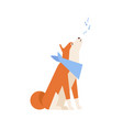 adorable akita inu howling or singing song vector image vector image