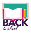 back to school book with pencil and blackboard vector image vector image