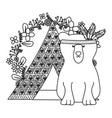 bear grizzly with feathers hat in tent bohemian vector image vector image