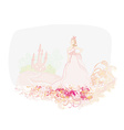 Beautiful young princess in front of her castle vector image vector image