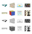board game cartoonmonochrome icons in set vector image vector image