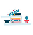 bookshelf for study room or office books and vector image