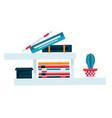 bookshelf for study room or office books vector image