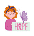 breast cancer awareness month girl hope text vector image vector image