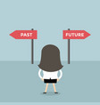 businesswoman decision about past and future way vector image vector image