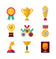 cartoon awards set trophy icons collection vector image vector image