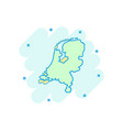 cartoon netherlands map icon in comic style vector image
