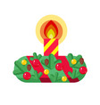 christmas wreath with candles vector image