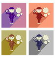 concept of flat icons with long shadow businessman vector image vector image