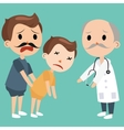 dad bring sick kids to doctor emergency medical vector image vector image