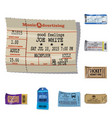 design of ticket and admission sign set of vector image vector image