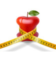 dieting concept red apple with measuring tape on w vector image vector image
