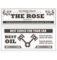 flower shop and car oil retro newspaper ad vector image