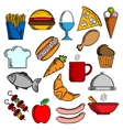 Food snacks and dessert icons vector image vector image