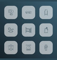 furniture icons line style set with lamp corner vector image vector image