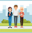 group of people in the park vector image