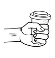 hand holding a coffee paper cup black and white vector image