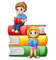 happy school children with big books vector image