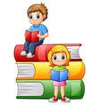 happy school children with big books vector image vector image