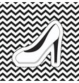 heeled shoe sticker on pop art zig zag linear vector image