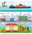 import export fruits and vegetables delivery vector image