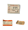 isolated object of ticket and admission icon set vector image vector image