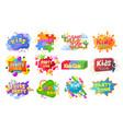 kids party emblem logo banner label set flat vector image