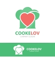 logo combination of a heart and chef hat vector image vector image