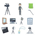 making a movie cartoon icons in set collection for vector image