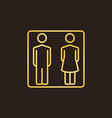 man and woman golden linear icon wc vector image vector image