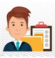 man with folder and clipboard isolated icon design vector image